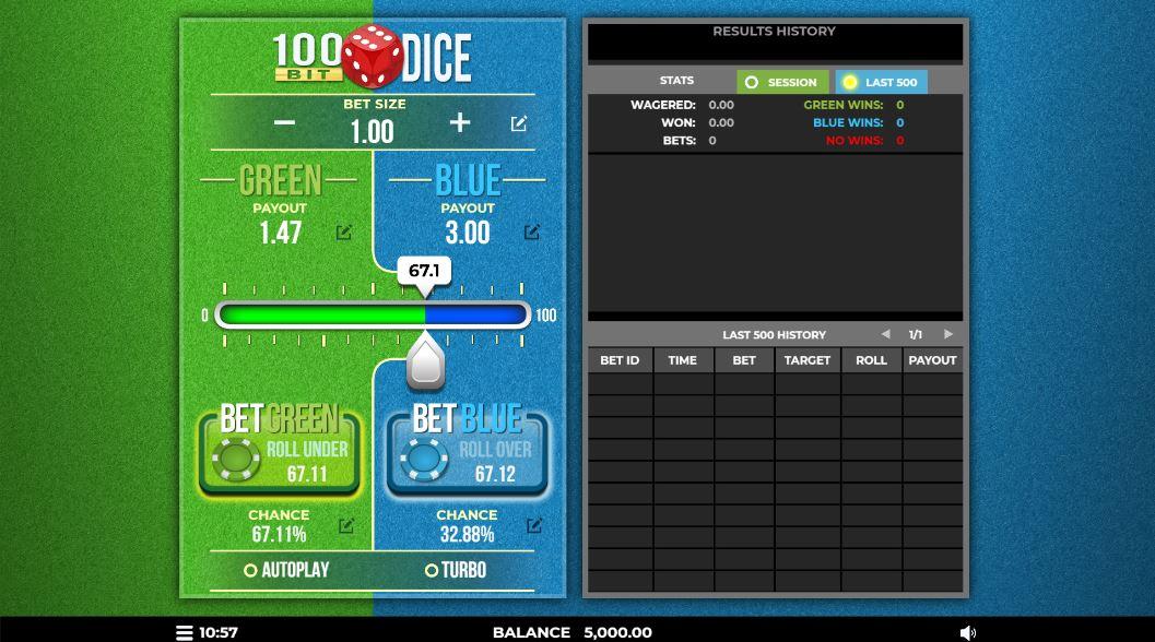 100ビットサイコロゲームプレイ